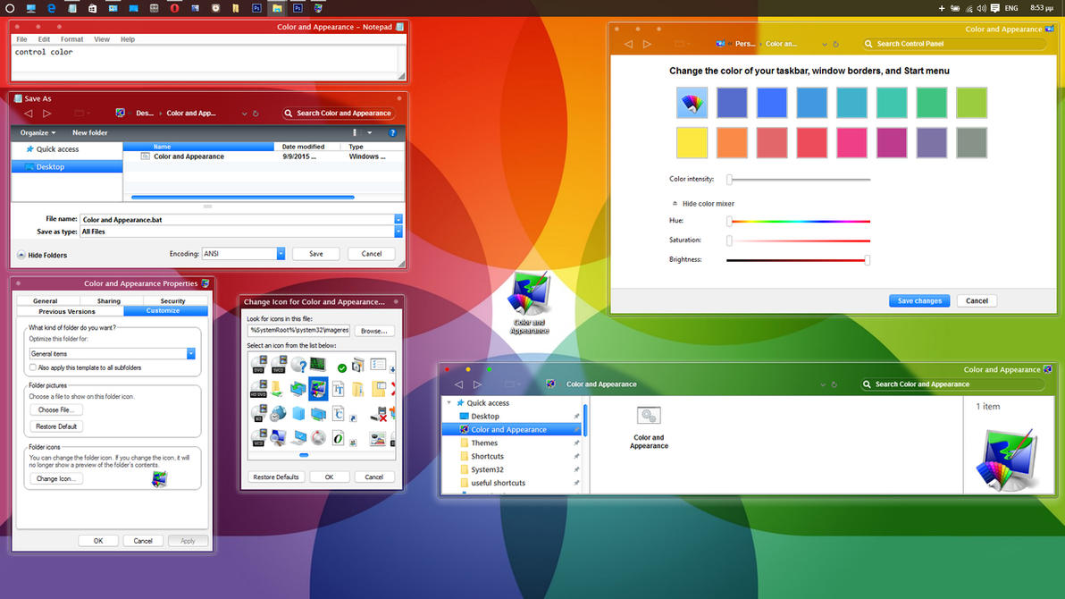 'Color and Appearance'  window to Windows 10 rtm by ZEUSosX