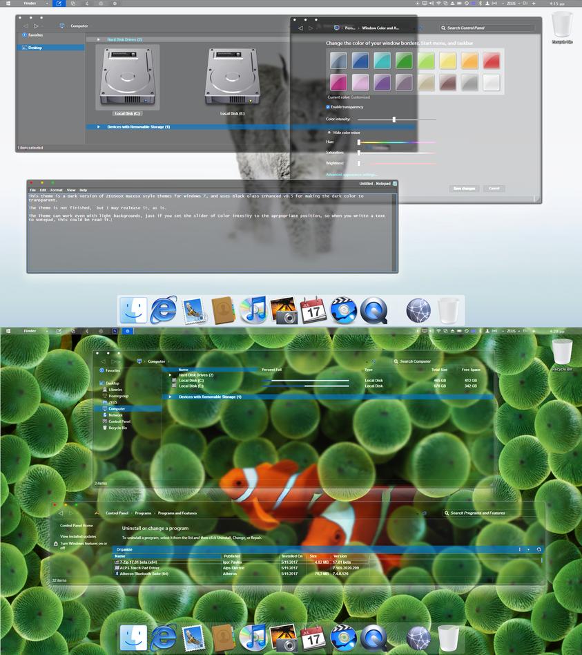 Dark Osx style theme for windows 7 by ZEUSosX