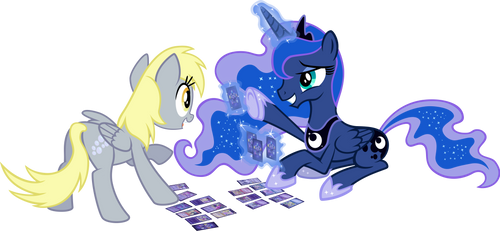 Games Ponies Play (Luna and Derpy) by tygerbug