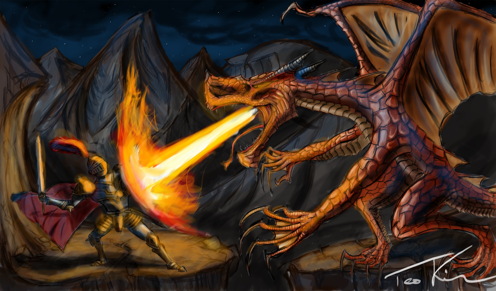 A knight and a dragon by Teonardo on DeviantArt