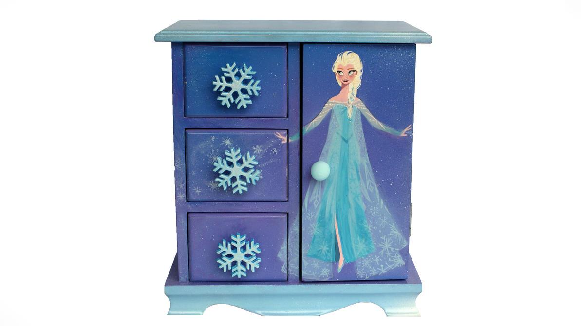 Disneys Frozen Elsa Acrylic Jewelry Box Painting by