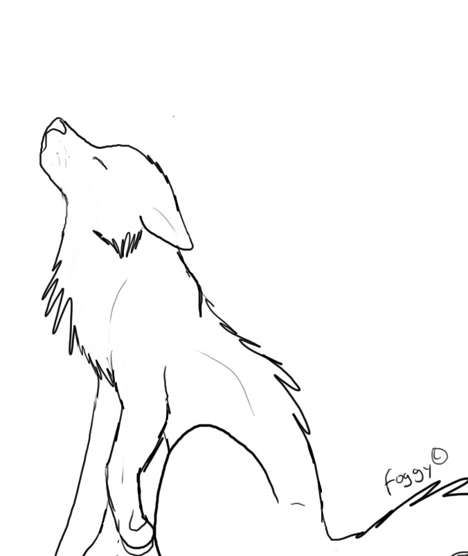 Wolf Howling :outline: by Foggy-cat on DeviantArt