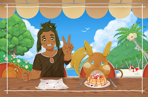 hau and raichu by kaeryi