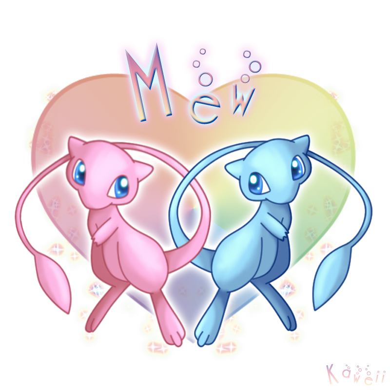 Mew and shiny Mew by Kaweii on DeviantArt