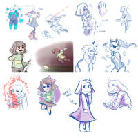 Many Undertale Doodles (livestream #7) by Kaweii