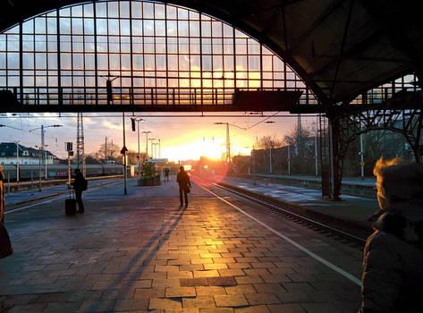 Evening Train Station