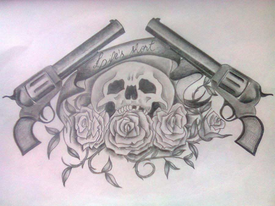 Skulls And Guns Tattoos: Skull And Guns By Brubsbrubs On DeviantArt