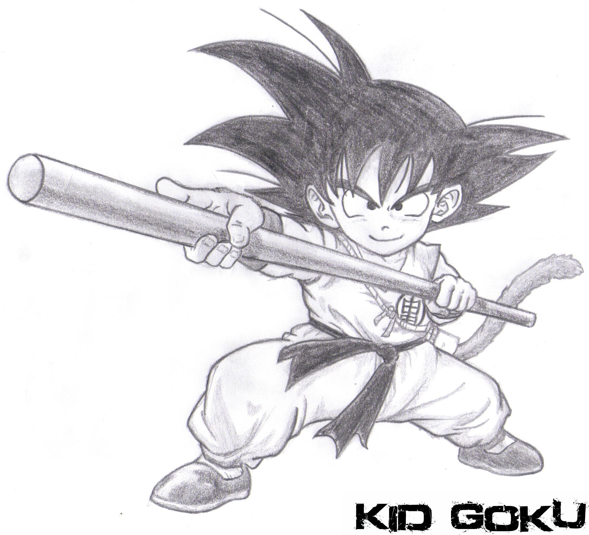 Kid goku pencil drawing by iihurricane on deviantart