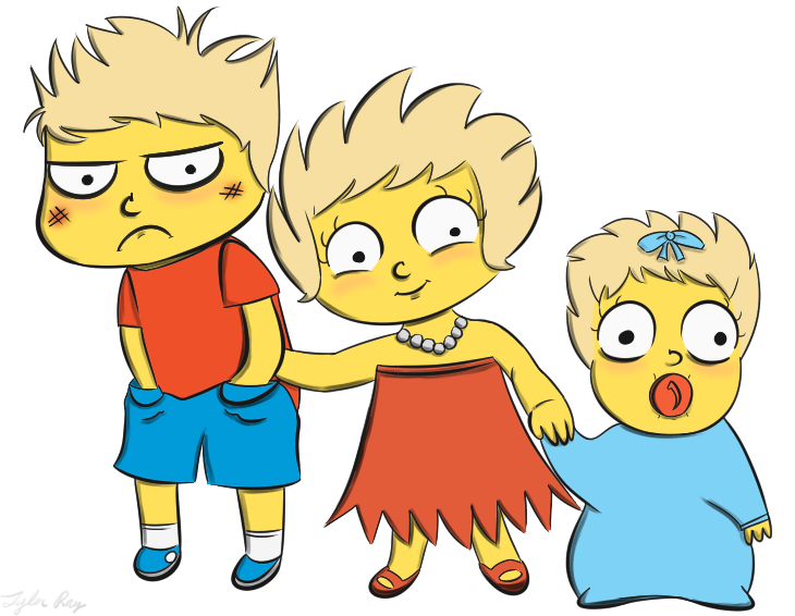 Bart, Lisa, and Maggie by BottledWottle