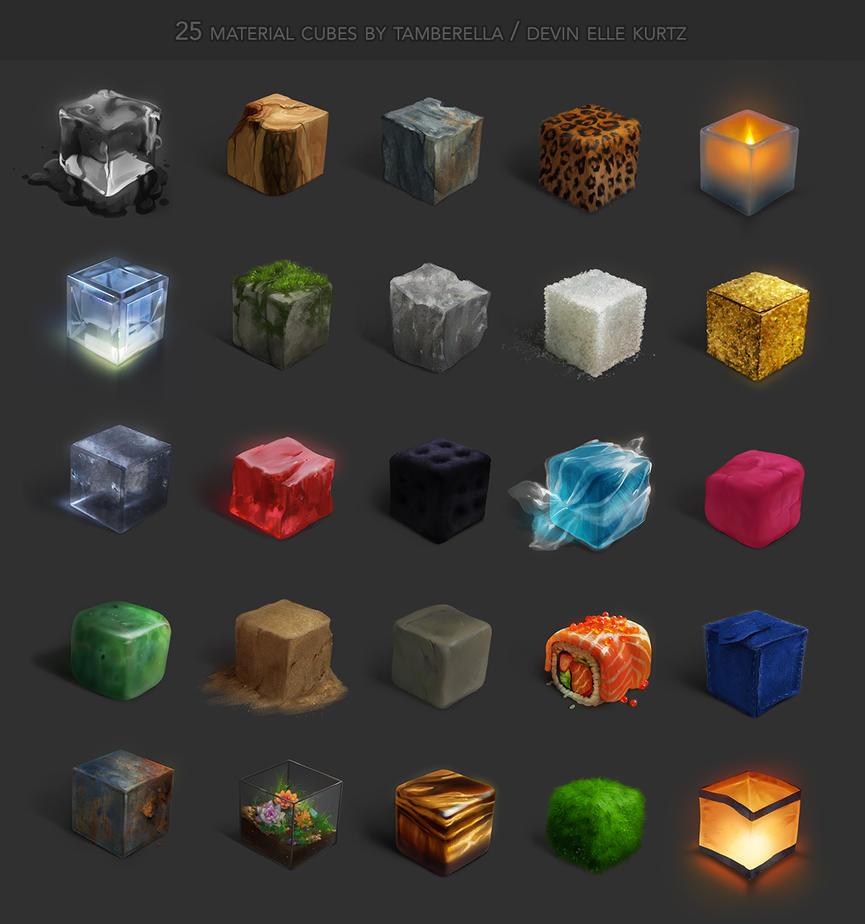 25 Material Cubes by TamberElla