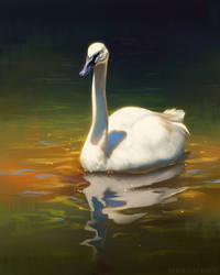 Swan Stream Painting by TamberElla