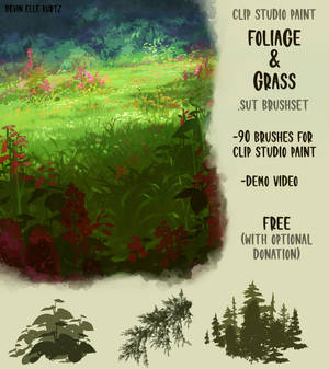 Free Clip Studio Paint foliage brushset
