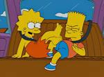 [Simpsons] Lisa kicks Bart Barefoot