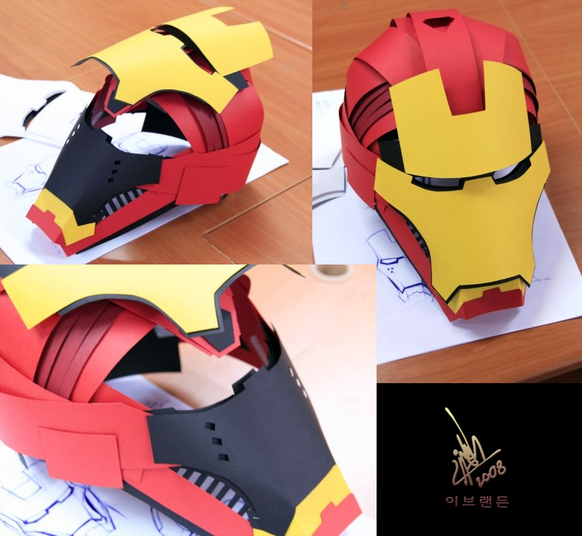 89 Origami Iron Man Helmet Low Poly Diy Iron Man Mask Paper Model