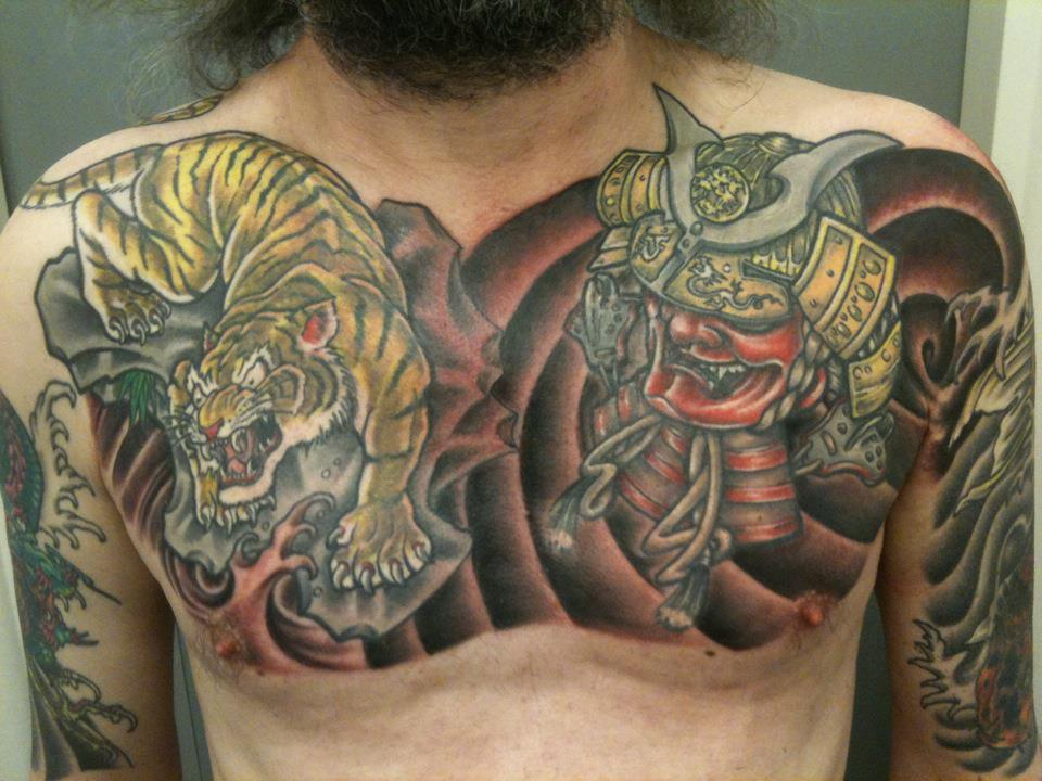 Japanese style chest by sweentat2 on deviantart for Japanese style chest tattoos
