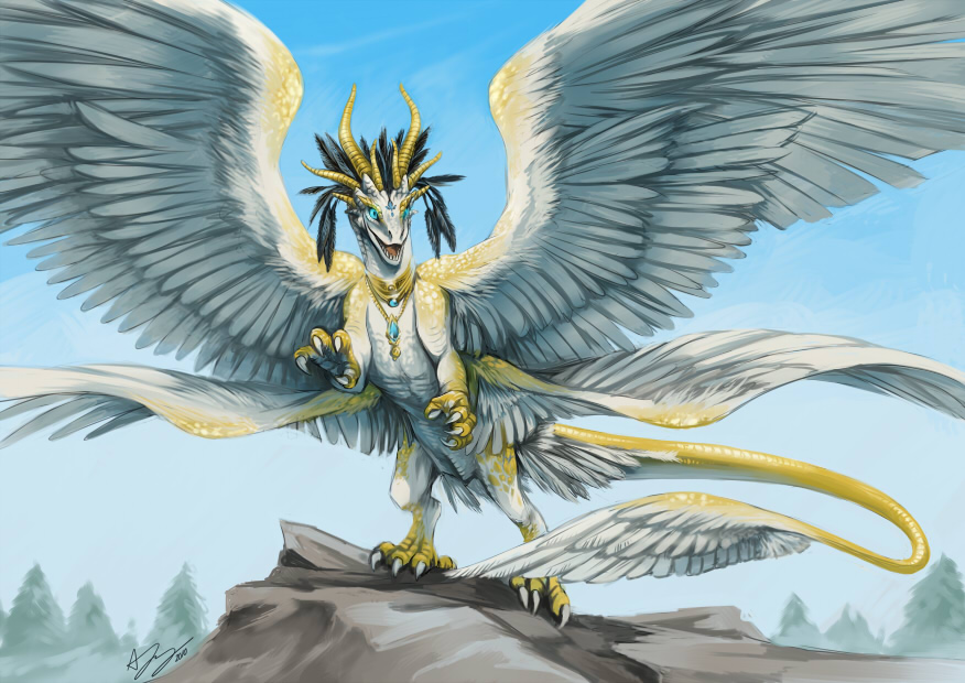 Anila, Goddess of the Elements Commission__angelic_dragon_by_pinali