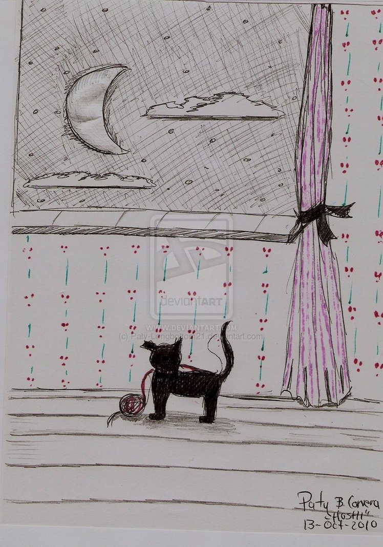 Pretty black cat watching moon by HoshiBlue21