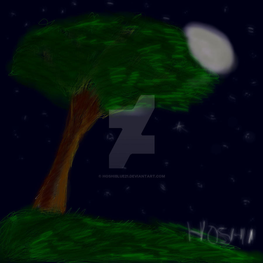 Moon And Stars-digital practice  Paint tool sai by HoshiBlue21