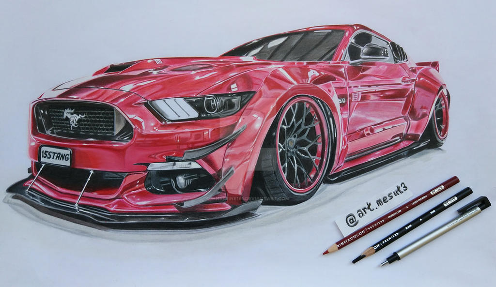 Ford Mustang Gt 2015 5 0 V8 Car Drawing By Einstein6161 On Deviantart