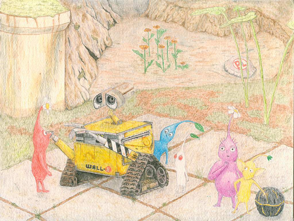 Walle and the Pikmin by somanyshadesofgrey on DeviantArt