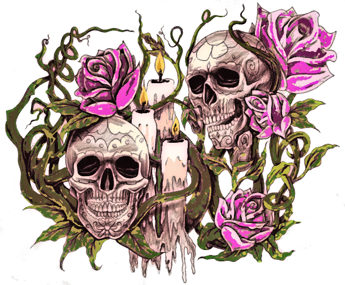 2 skulls roses and candles6 by d and d tattoodesign on deviantart. Black Bedroom Furniture Sets. Home Design Ideas