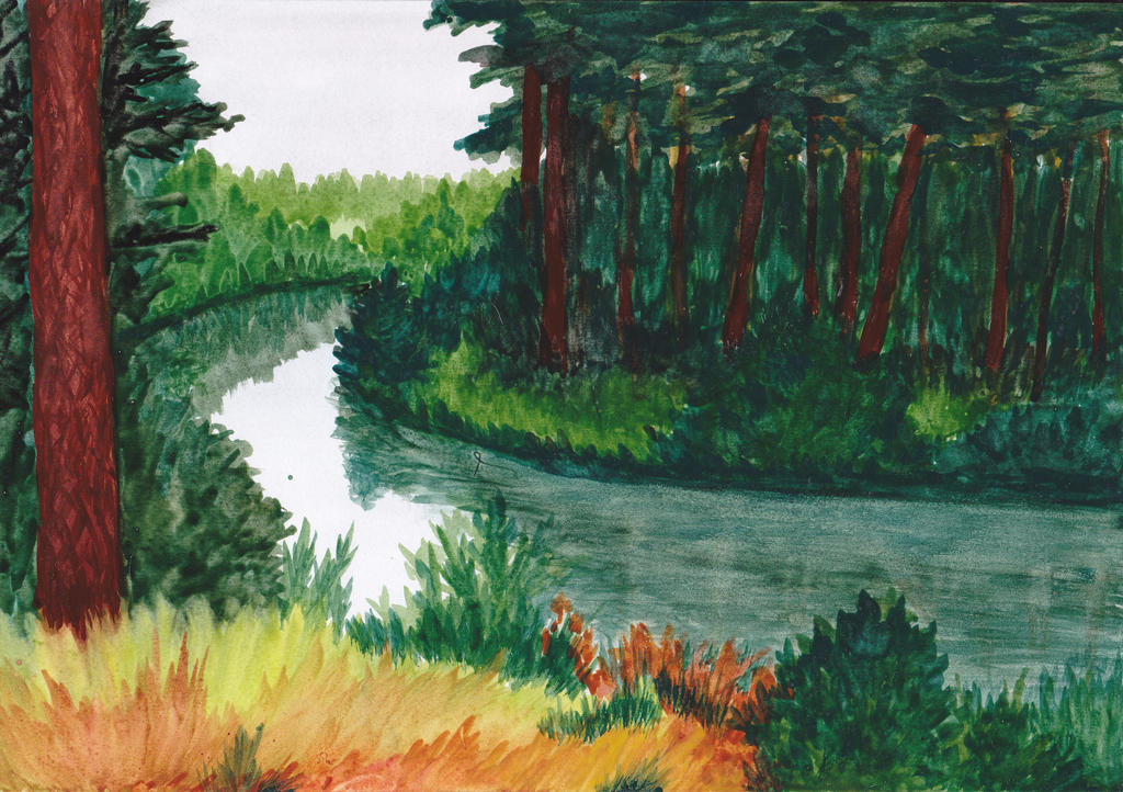 Pine forest near the river by FlaviaDeLuce13