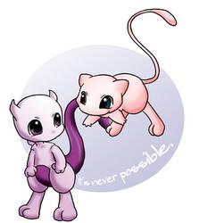 Chibi Mewtwo And Mew by Kingdom-Fantasy-7