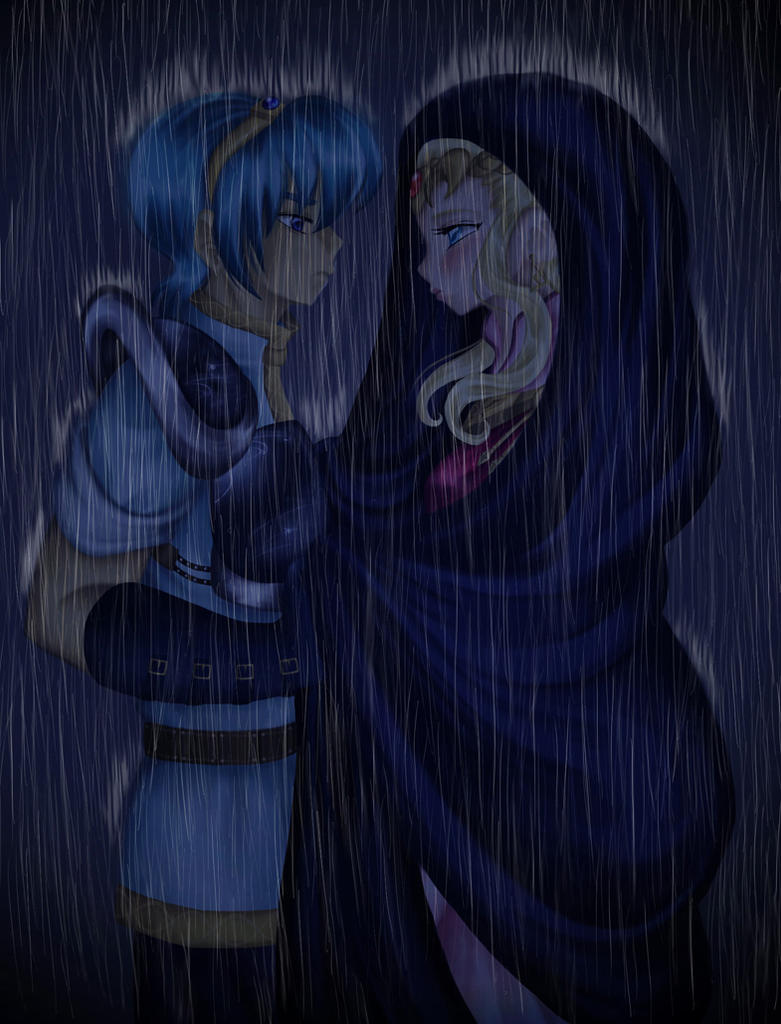 Marth and Zelda - In the Rain by Spelarminlind