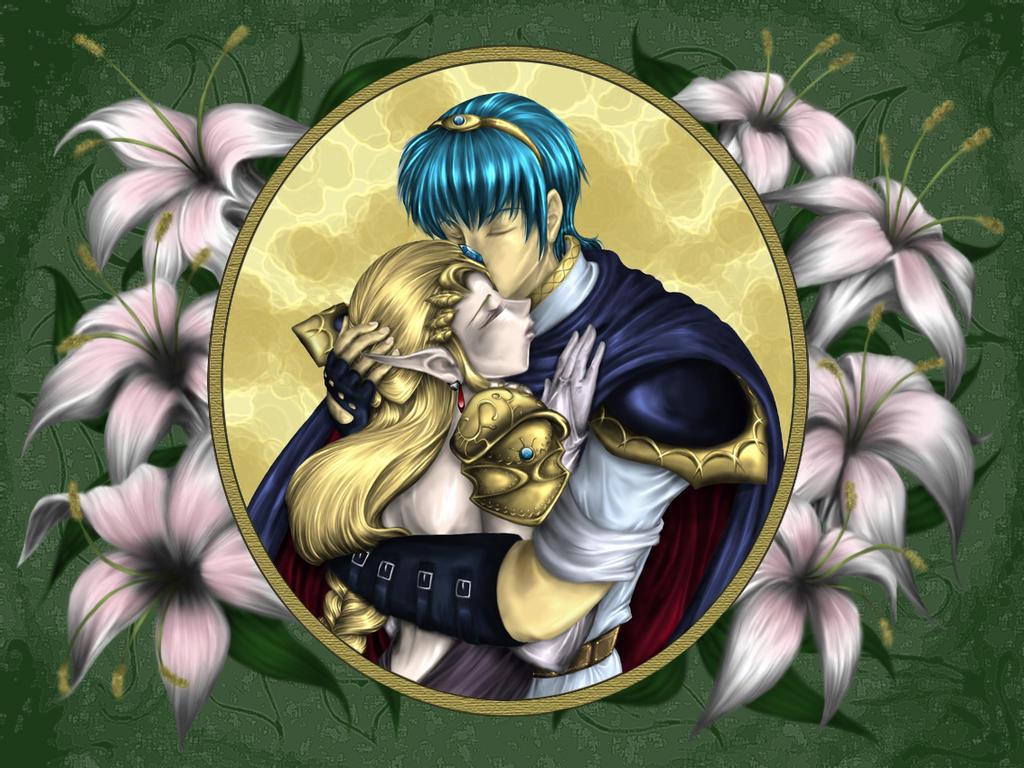 Marth and Zelda - Embrace by Spelarminlind