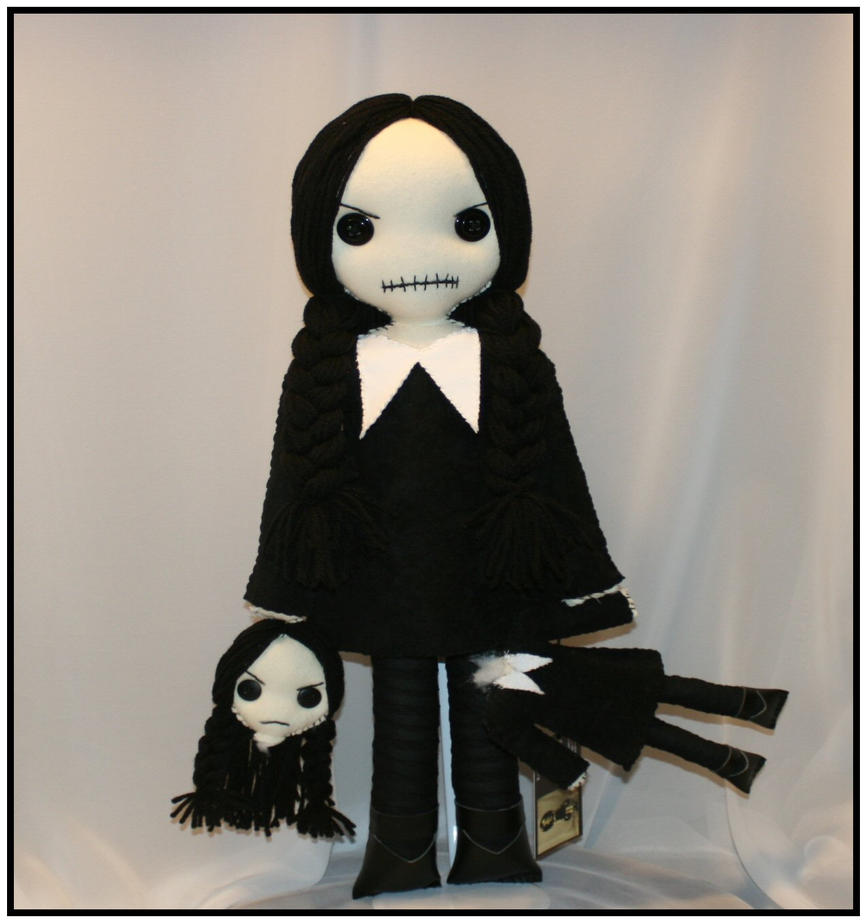 Hand ststched doll inspired by Wednesday Addams by Zosomoto