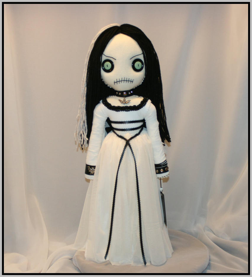 Hand Stiched Rag Doll inspired by Lily Munster by Zosomoto