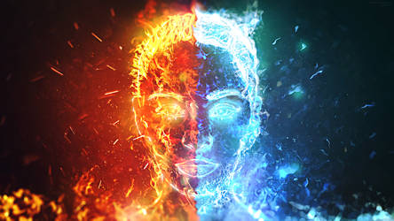 Dualism HD Wallpaper (Fire and Water)