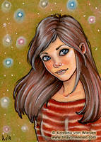 ACEO Girl and Orbs by wasteddreams