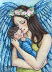 Angel Mother and Baby ACEO by wasteddreams