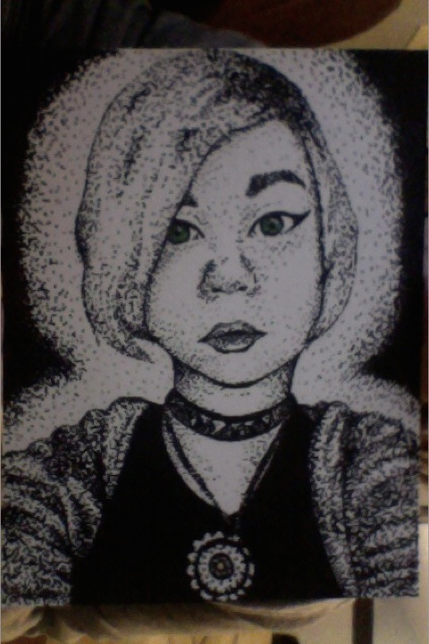 Pointillism of a Friend by Black-Shadowed-Wolf