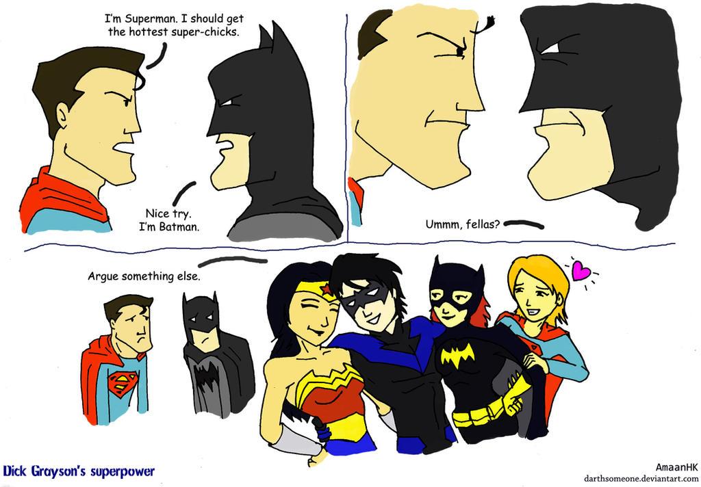 Dick Grayson's Superpower by darthsomeone