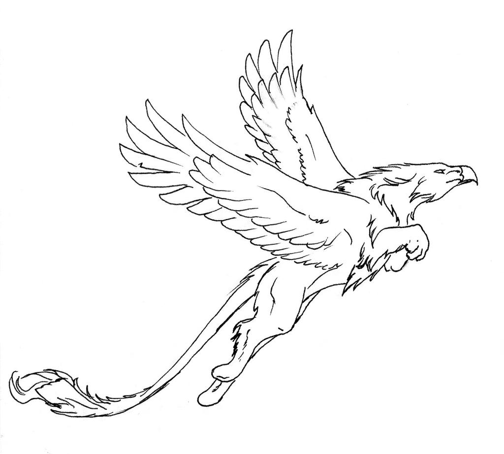 Jumping griffon lineart by thunderboltfire on deviantart for Griffon coloring page