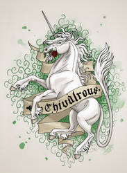 Chivalrous - Heraldric Unicorn by ThunderboltFire