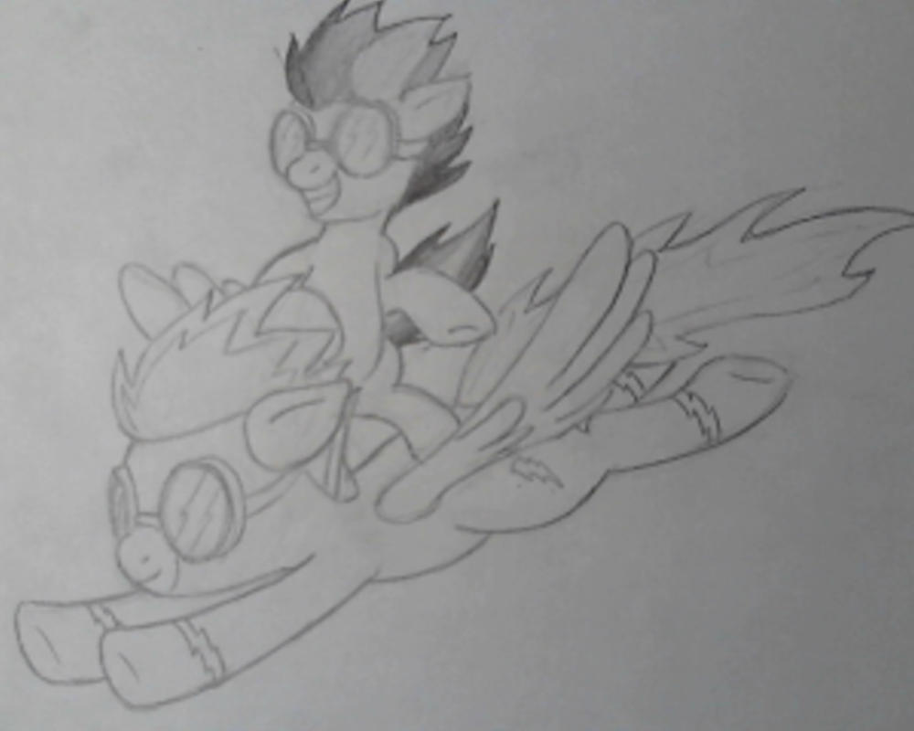 Filly Rainbow Dash surfing on Spitfire by Bill-the-Pony