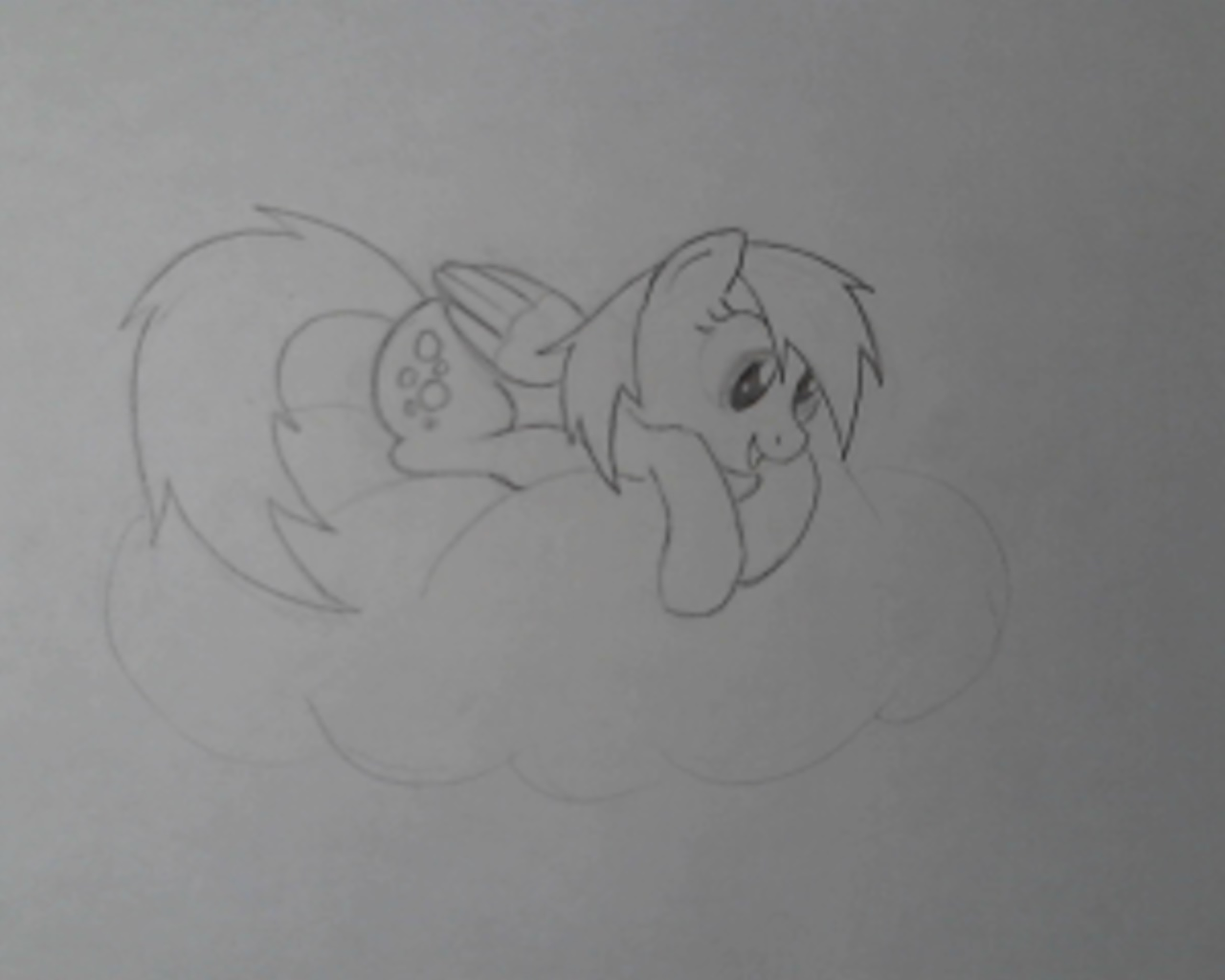 Derpy looking down from a cloud by Bill-the-Pony