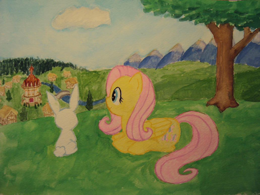 Fluttershy and Angel by Bill-the-Pony