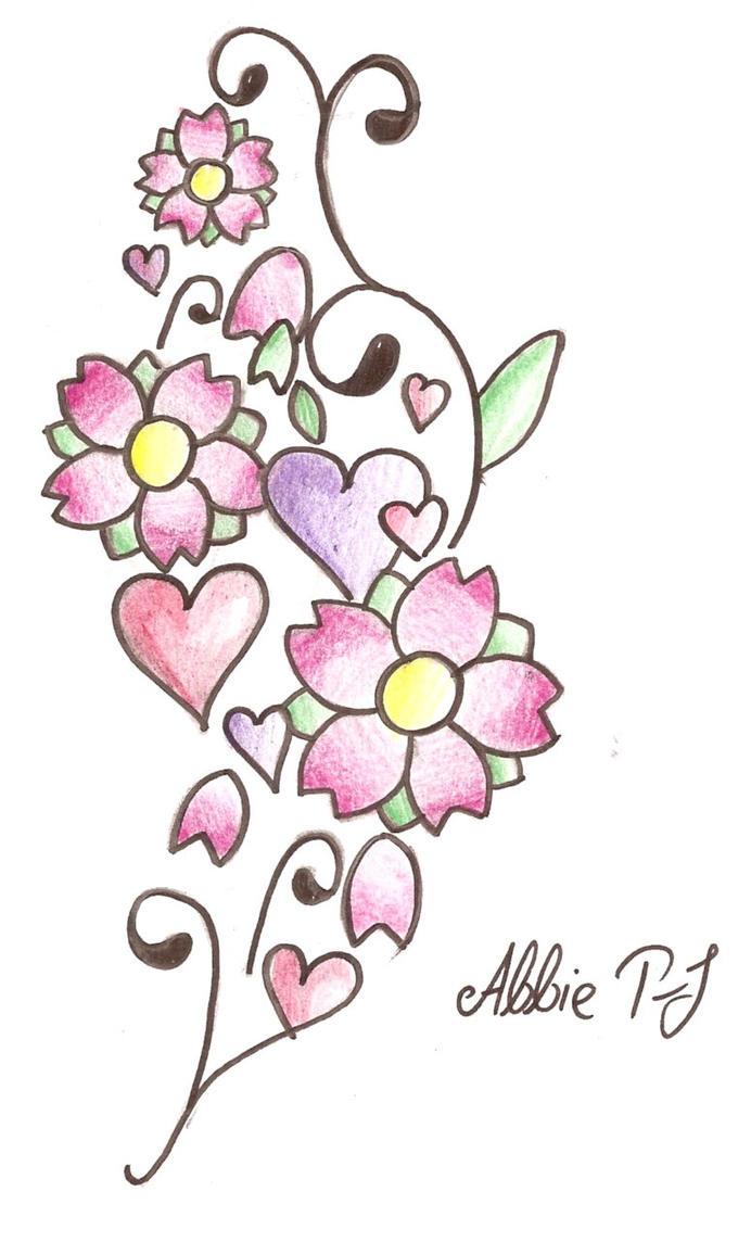 Thigh Flower+Heart Tattoo - flower tattoo