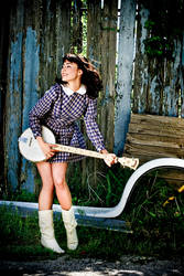 .Coon with her banjo.
