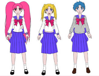 Raven, Usagi, Ami school uniforms