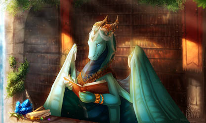 Reading in the morning by Hydlunn