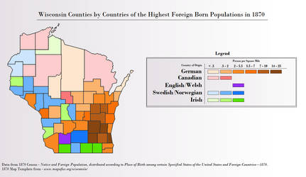 Wisconsin by Foreign Born Population in 1870 by duckcluck123