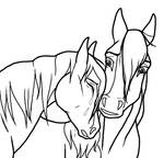 Sad Horse Couple lineart