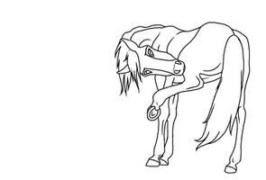 Itchy Horse Lineart--Mare by kokamo77