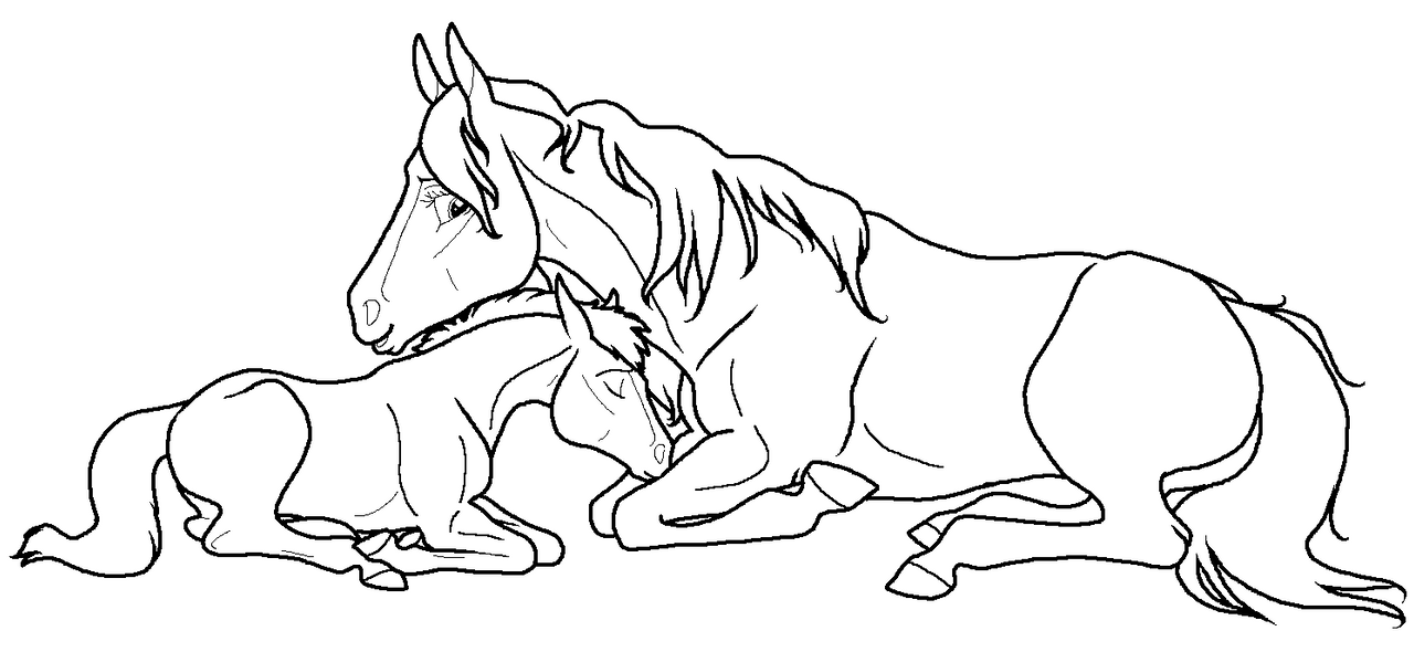 pics photos horse coloring page mare and new foal - Coloring Pages Horses Foals