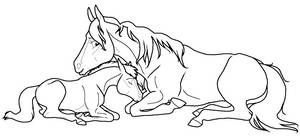 Mare+Foal lineart PNG